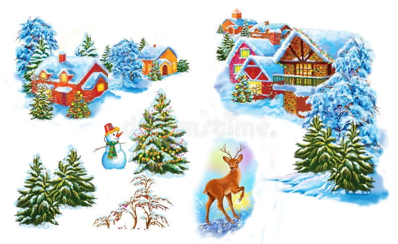 Set cartoon winter landscape the house and trees for fairy tale Snow Queen written by Hans Christian Andersen. Illustration Set cartoon winter landscape the stock illustration