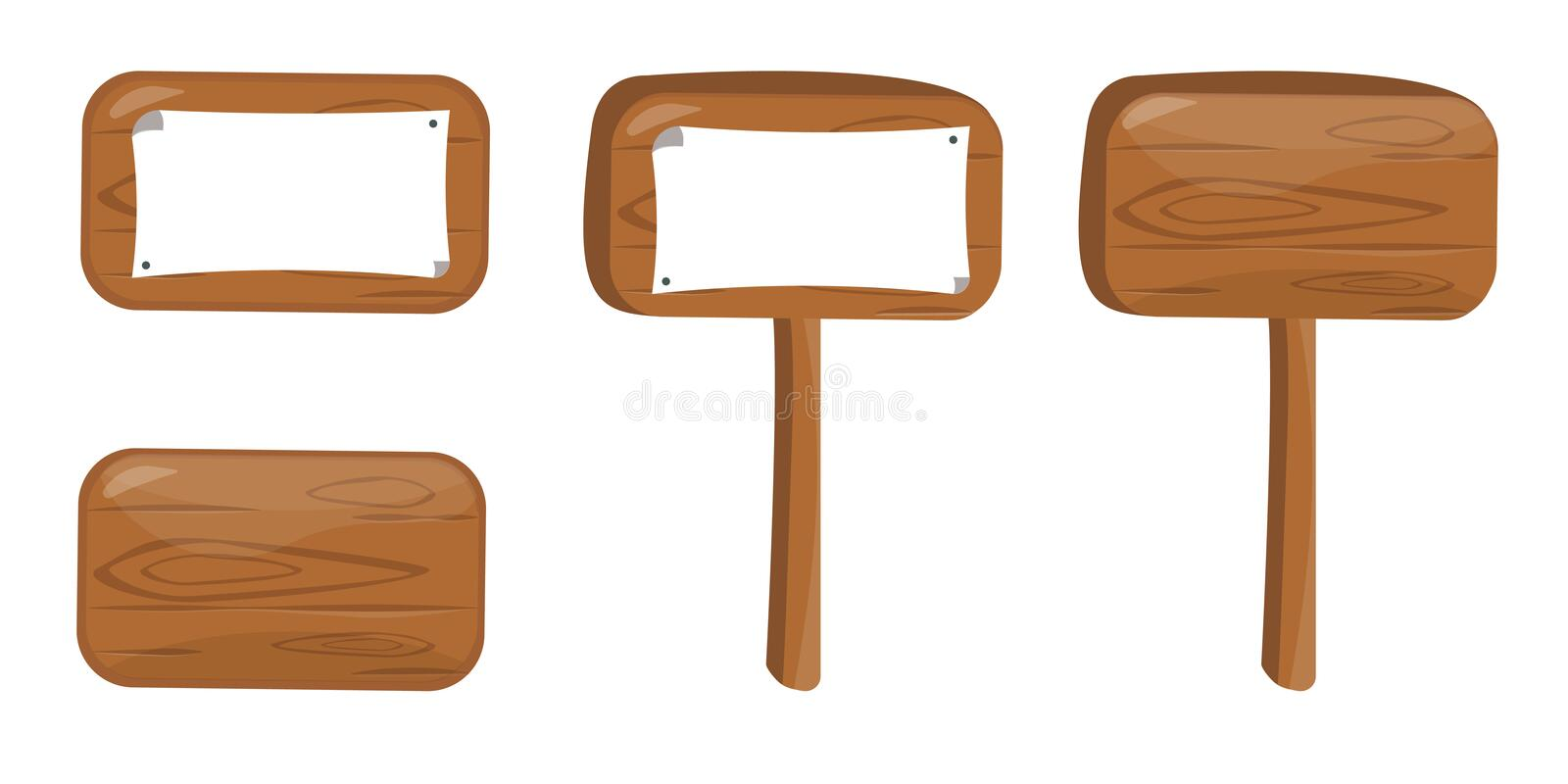 Set of cartoon wooden boards vector illustration