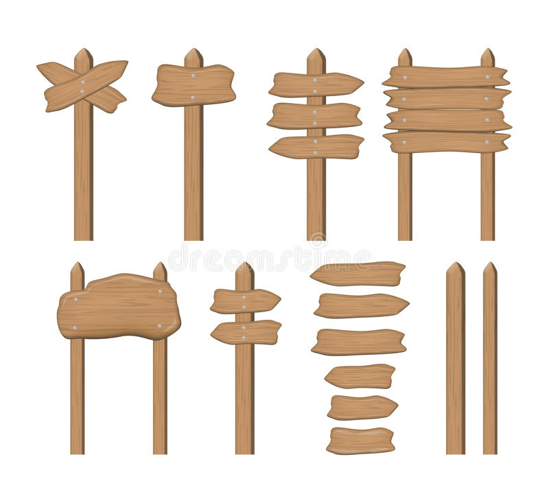 Set of cartoon wooden sign boards and arrows isolated on white. Vector. royalty free illustration
