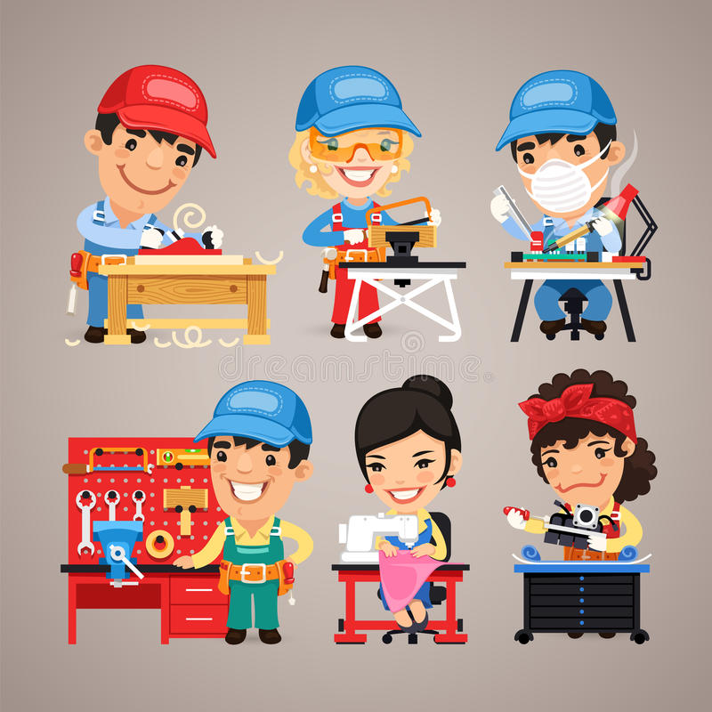 Set of Cartoon Workers at their Work Desks royalty free illustration
