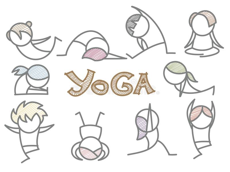 Line Art Yoga : Set of cartoon yoga line art royalty free stock photo