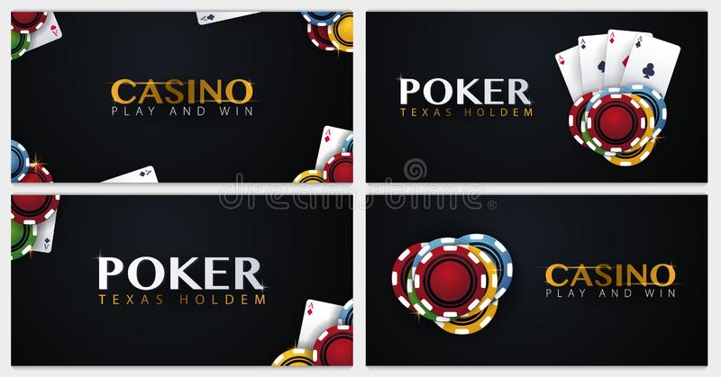 Set of Casino banners with casino chips and cards. Poker club texas holdem. Vector illustration. Set of Casino banners with casino chips and cards. Poker club stock illustration