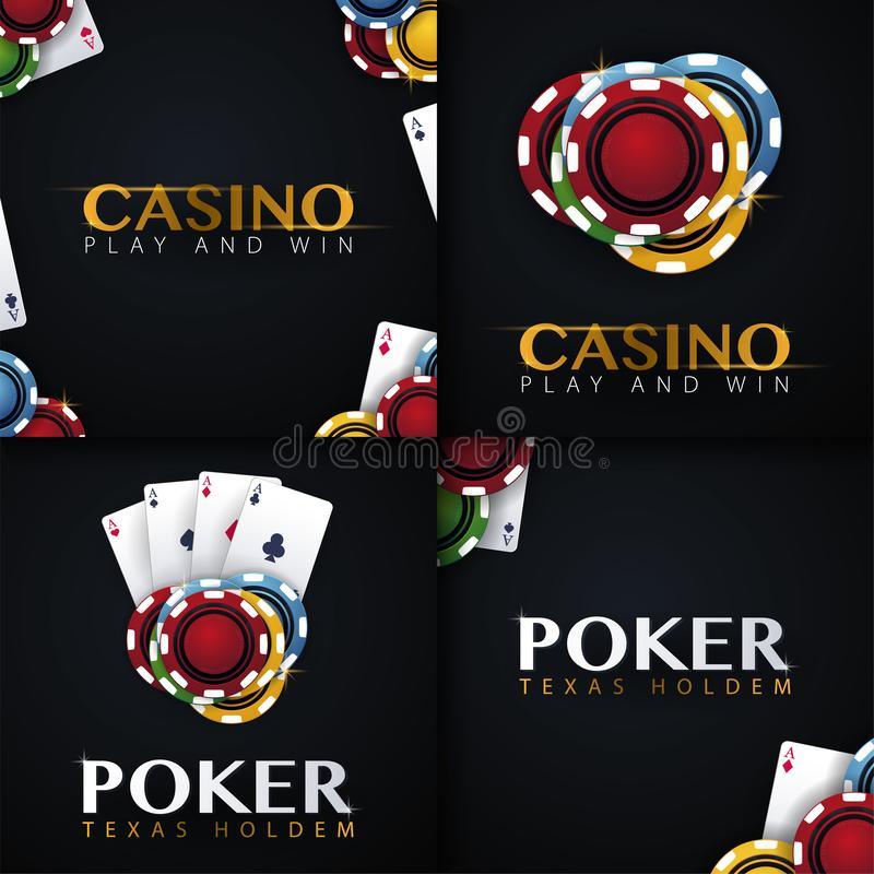 Set of Casino banners with casino chips and cards. Poker club texas holdem. Vector illustration. vector illustration