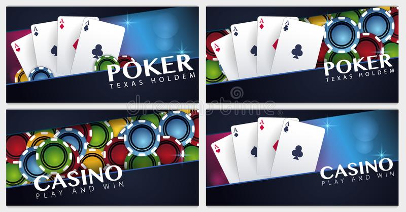 Set of Casino banners with casino chips and cards. Poker club texas holdem. Vector illustration. Set of Casino banners with casino chips and cards. Poker club royalty free illustration