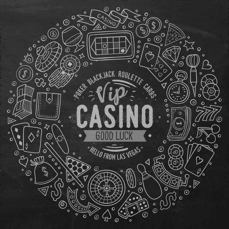 Set of Casino cartoon doodle objects, symbols and items. Chalkboard vector hand drawn set of Casino cartoon doodle objects, symbols and items. Round frame vector illustration