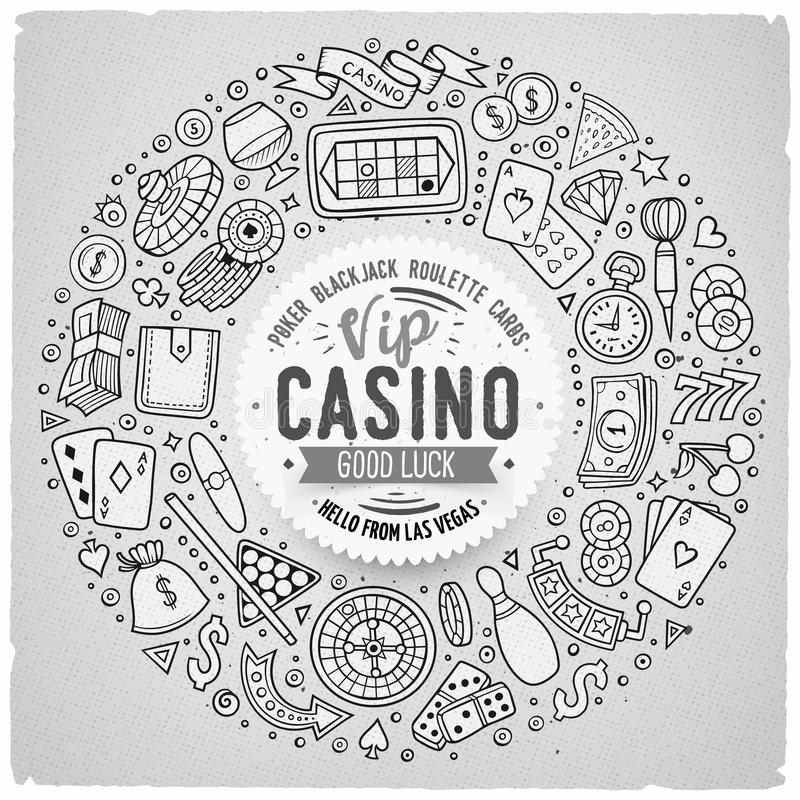 Set of Casino cartoon doodle objects, symbols and items. Line art vector hand drawn set of Casino cartoon doodle objects, symbols and items. Round frame royalty free illustration