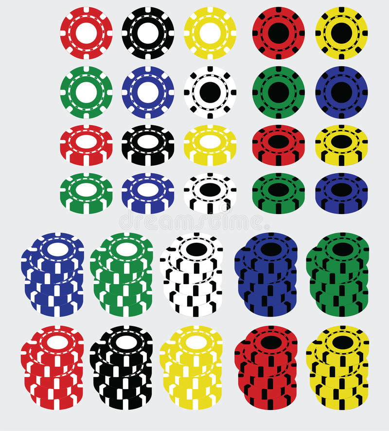Set of casino chips. Set of colored casino poker chips stock illustration