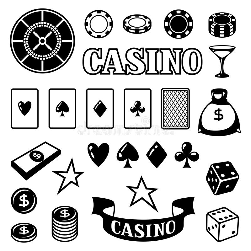 Set of casino gambling game objects and icons.  stock illustration