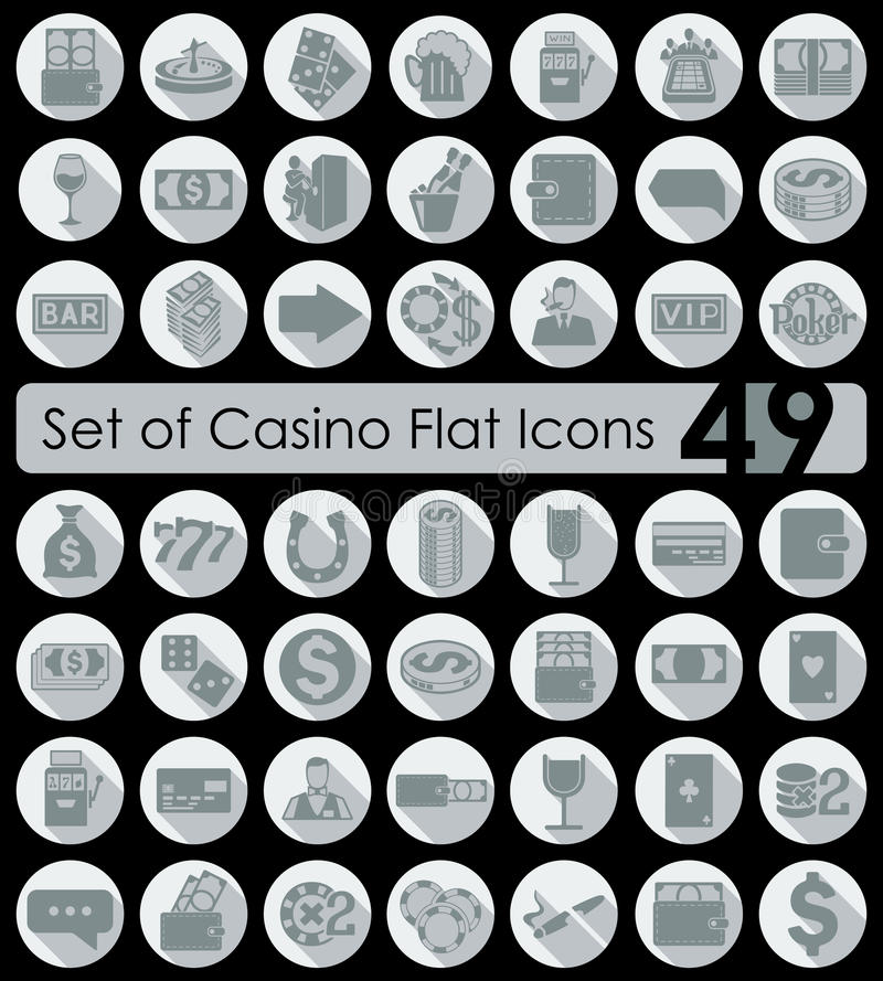 Set of casino icons. Set of casino flat icons for Web and Mobile Applications stock illustration