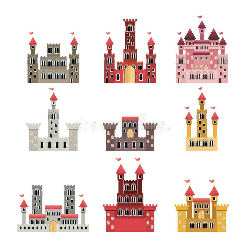 Set of castles of fairy tales in white background. Vector illustration royalty free illustration