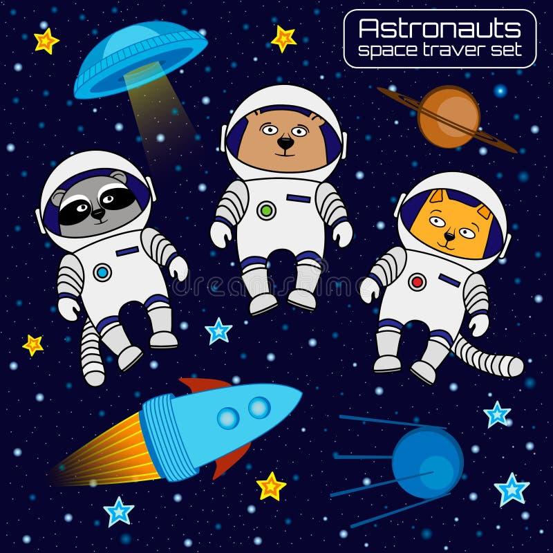 Set of cat, bear and raccoon astronauts cosmonauts rocket, ufo,. Satellite, stars. Vector illustration vector illustration