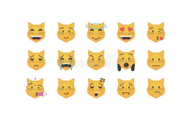 Set of cat emoticon vector stock illustration