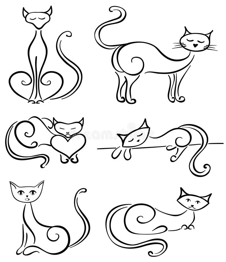 Download Set cats stock vector. Image of beautiful, black, design - 28780152