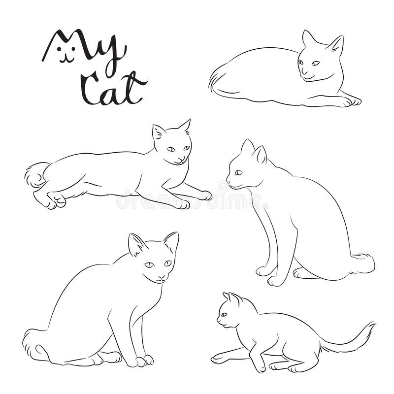 Set of cats thin line icon, animal free hand drawing isolated, kitty pet cartoon sitting on the ground coloring page stock illustration