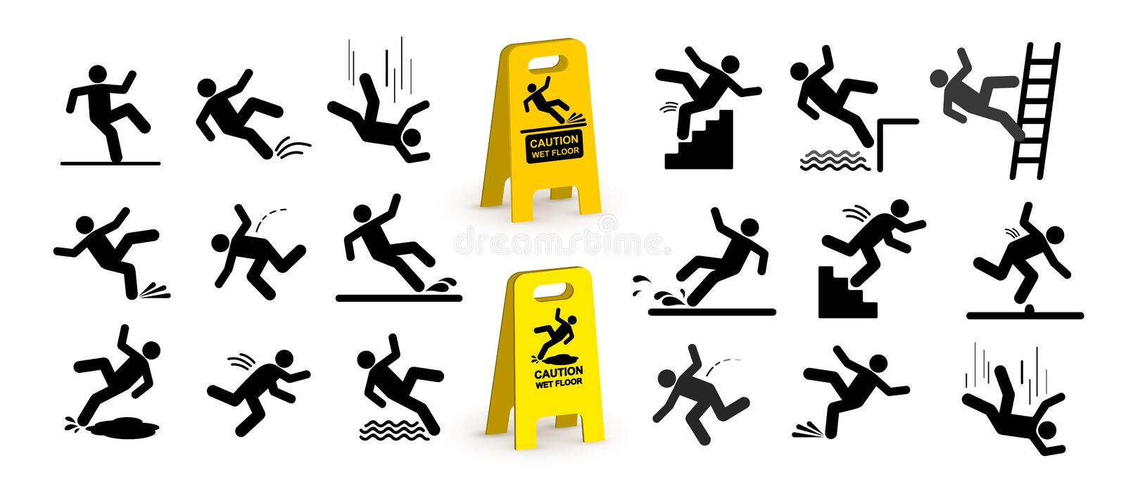 Set of caution symbols with stick figure man falling. Falling down the stairs and over the edge. Wet floor, tripping on stairs. Wo vector illustration