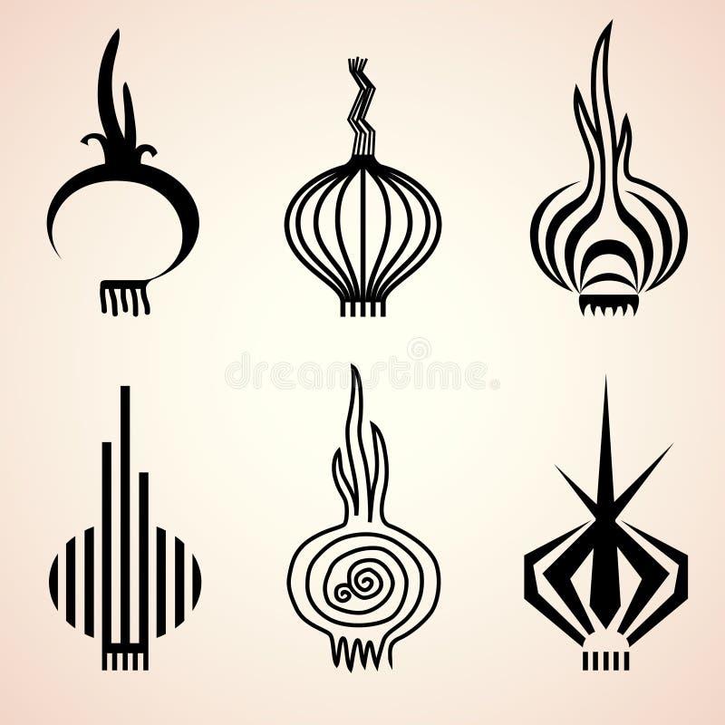 Set cebulkowe ikony w różnych graficznych stylach ilustracji