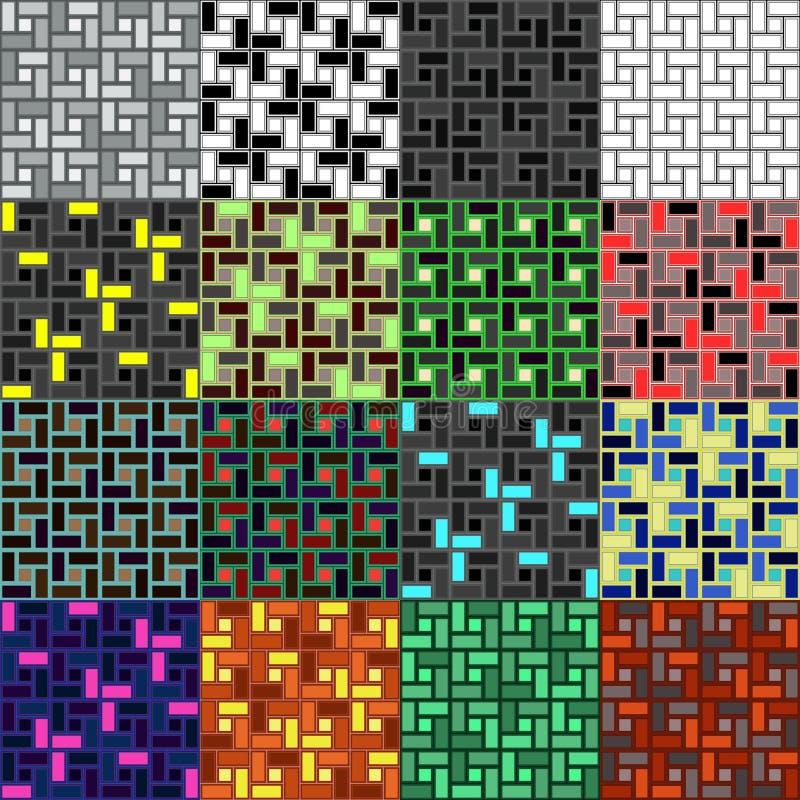 Set cegły spirali płytki clockwise tekstury bezszwowi patternes royalty ilustracja