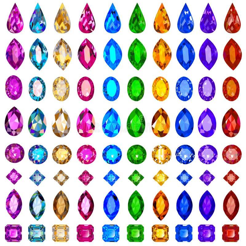 Set cenni kamienie różni cięcia i col ilustracji