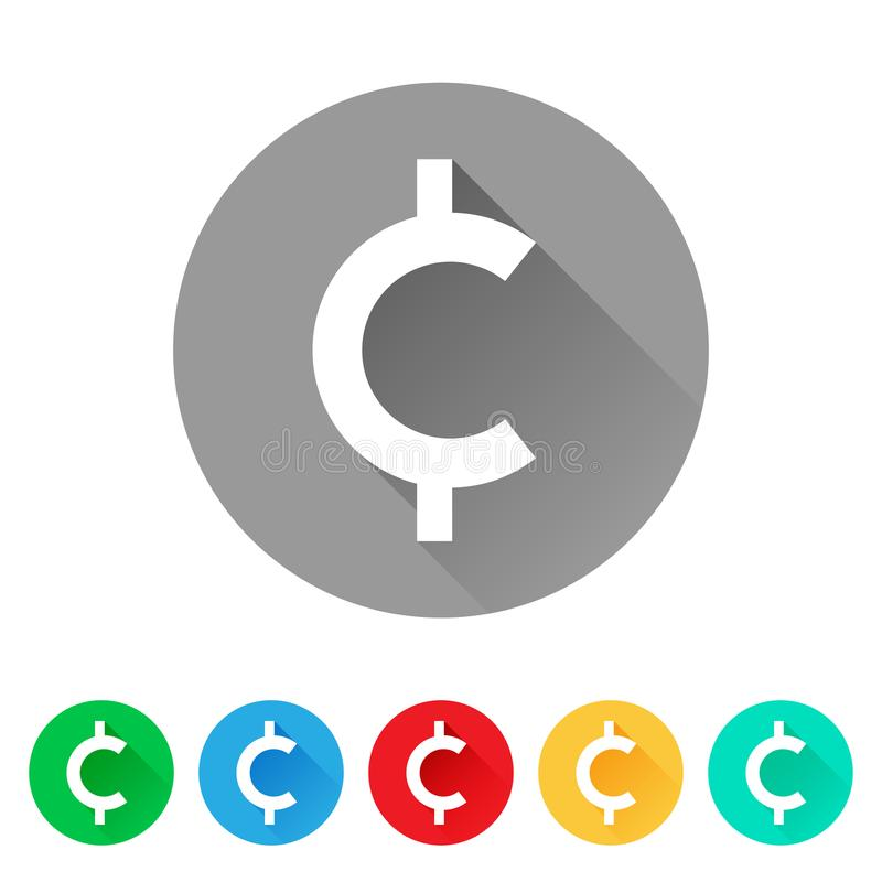Set of cent sign icons, currency symbol. Flat round button stock illustration