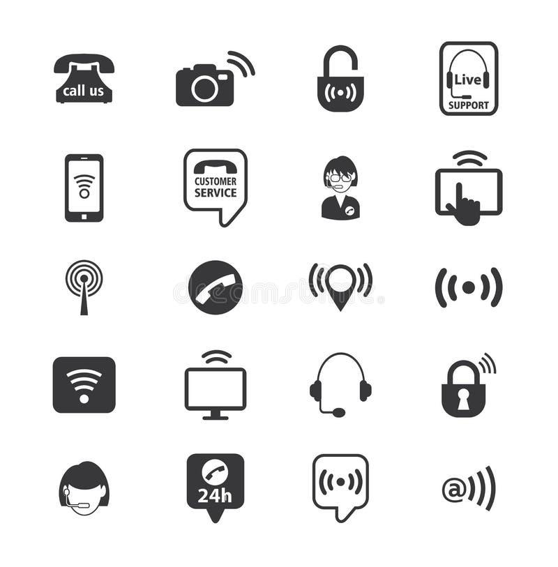 Set centrum telefoniczne operatora ikony wektor royalty ilustracja