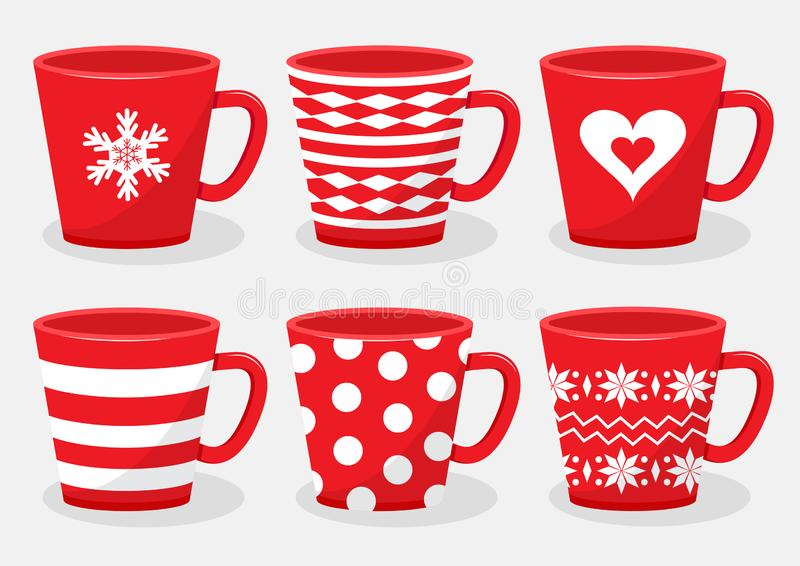 Set of ceramic cups for drinks with different design, red and white colors. Vector stock photos