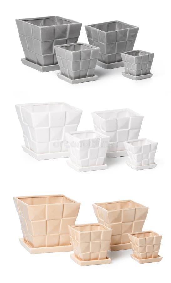 Download Set Of Ceramic Flowerpots For Indoor Plants Stock Image - Image: 20982865