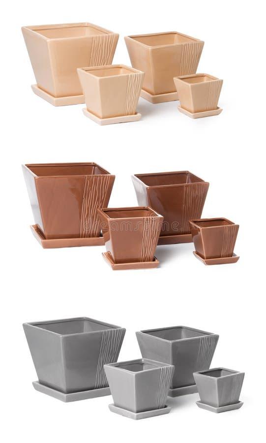Download Set Of Ceramic Flowerpots For Indoor Plants Stock Photo - Image: 20982926