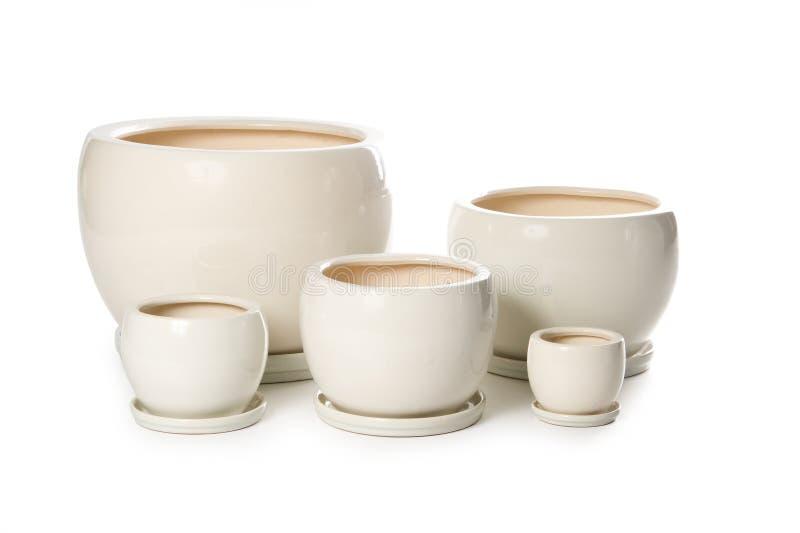Download Set Of Ceramic Flowerpots For Indoor Plants Stock Image - Image: 20982971