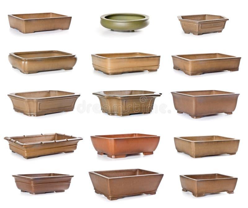 Set Of Ceramic Flowerpots Stock Photo