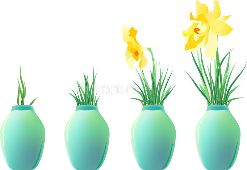 Download A Set Of Ceramic Jars With Plants Stock Vector - Image: 11918956