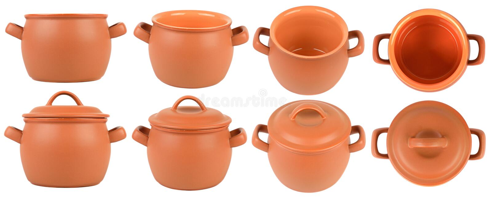 Set ceramic saucepans isolated on white. Different angles and large size royalty free stock photography