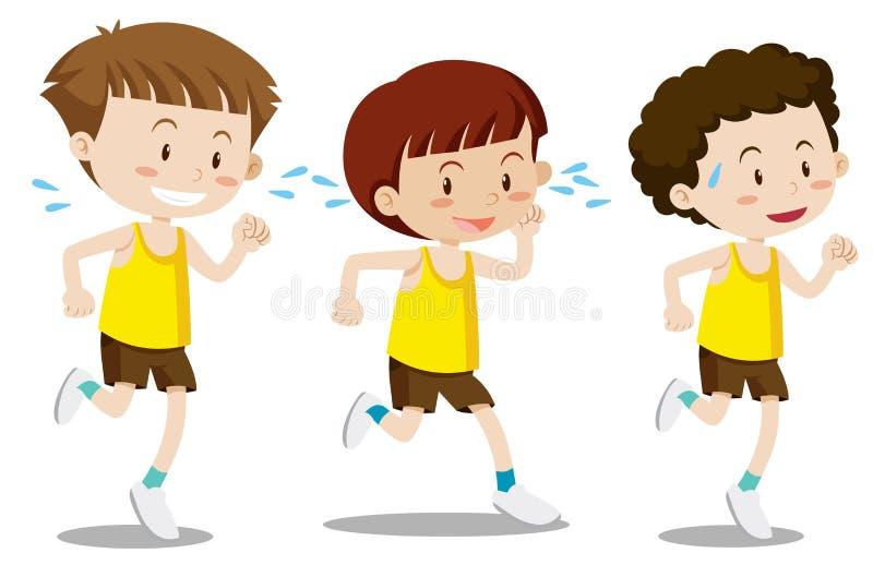 Set chłopiec ćwiczenie ilustracji