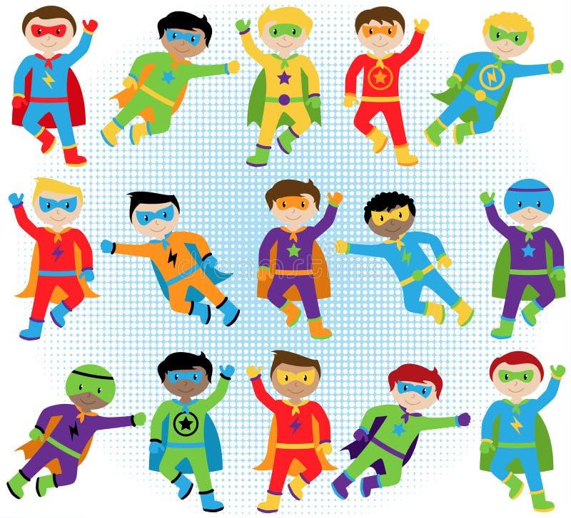 Set chłopiec bohaterzy w Wektorowym formacie ilustracja wektor