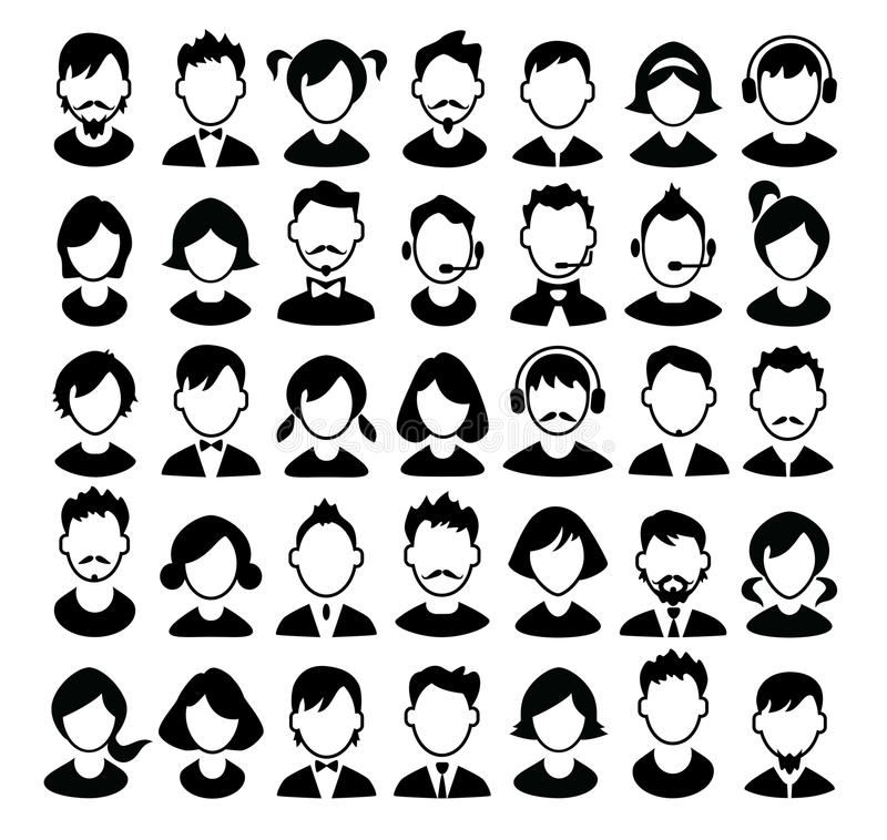 Set chłopiec, dziewczyn avatars i operator ikony ilustracji