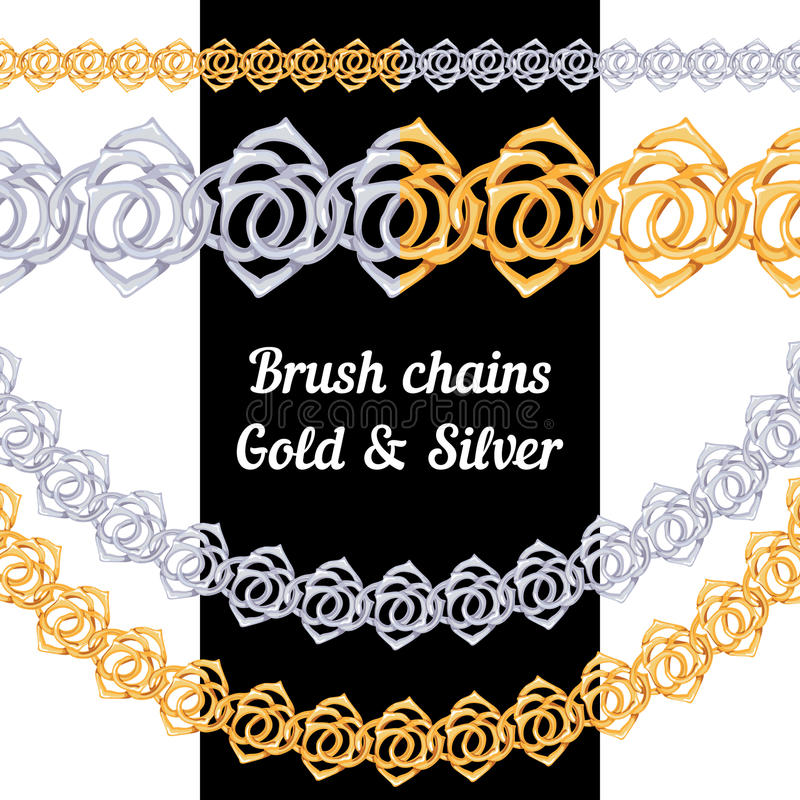 Download Set Of Chains Metal Brushes - Gold And Silver Stock Vector - Image: 43397968