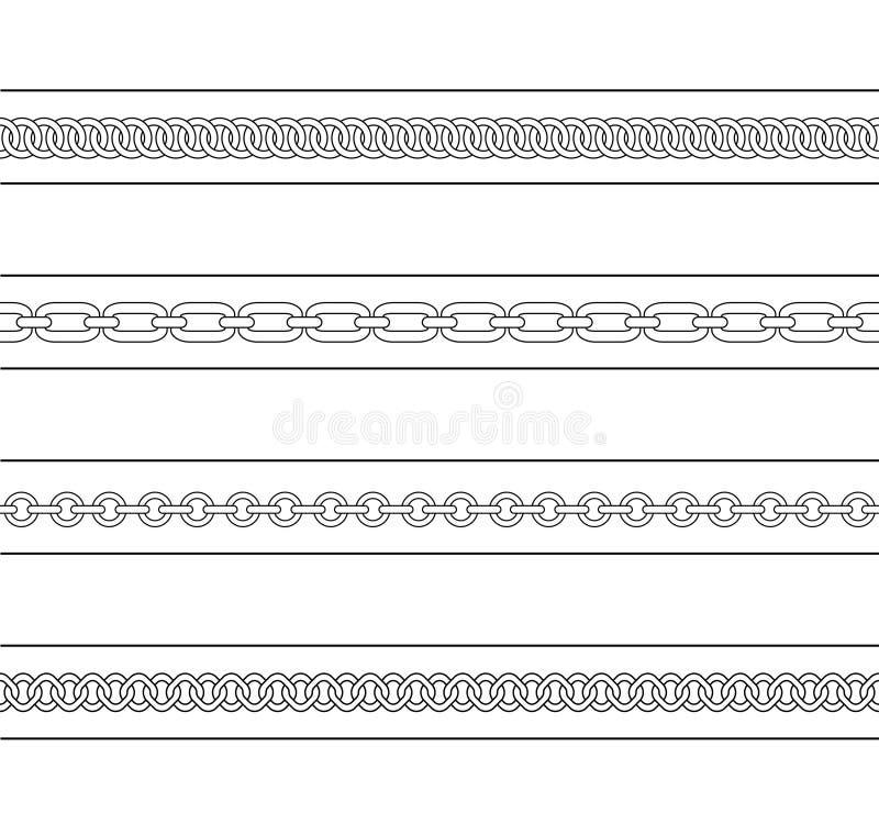 Set of chains web page dividers. Contour lines. Set of chains web page dividers. Vector contour lines clip art vector illustration