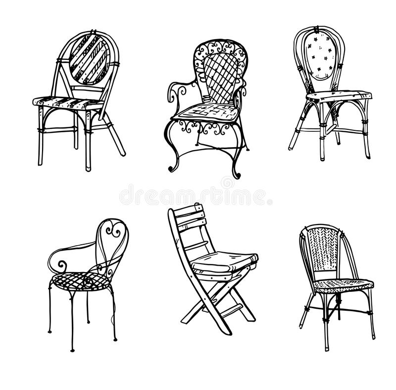 Set of chairs. Vector sketch. Set of chairs. Garden furniture. Vector sketch, hand drawn stock illustration