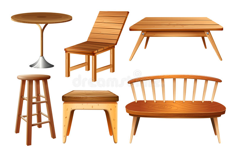 Set of chairs and tables. Illustration vector illustration