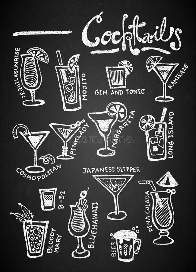 Set of chalk Cocktails on blackboard. Set of chalk Cocktails Doodles Hand Drawn on blackboard royalty free illustration