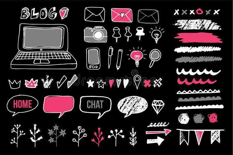 Set of chalk doodle graphic elements for blog, objects. Set of chalk doodle graphic elements for blog and graphic projects, objects, icons, frames, dividers royalty free illustration