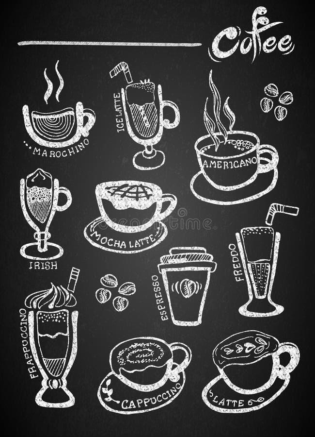 Set of chalk hand drawing coffee on blackboard royalty free illustration