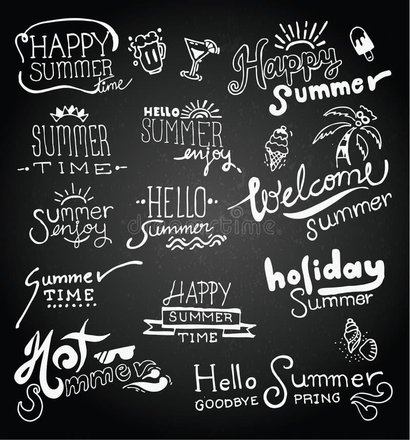 Set of chalk hand drawing summer vector illustration