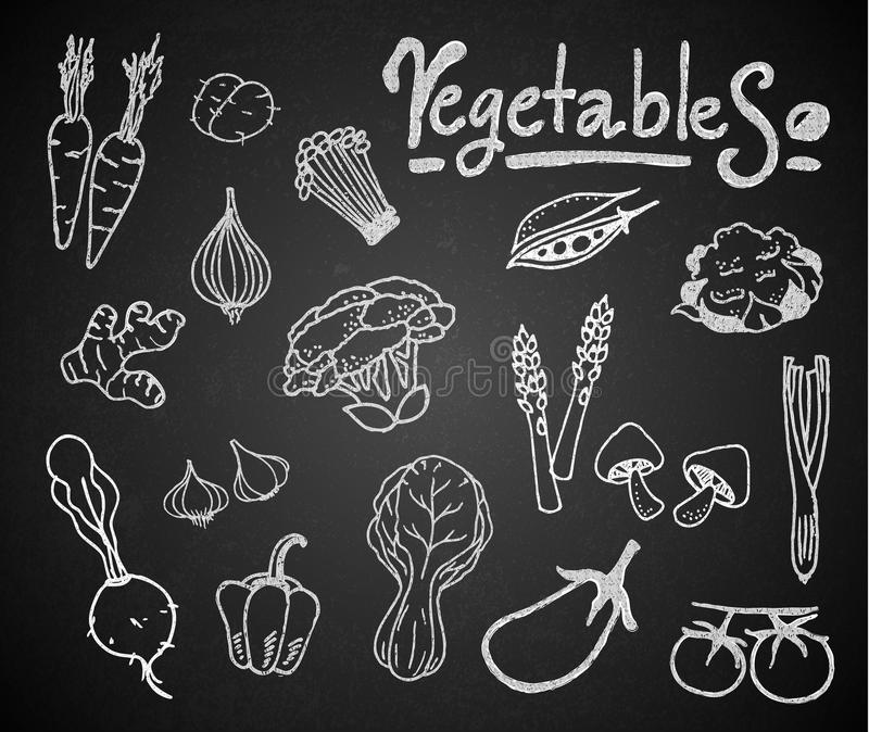Set of chalk vegetables on blackboard stock illustration