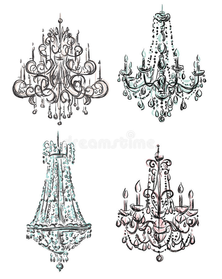 Set of chandelier drawings. A set of chandelier drawings, hand-drawn vector illustration