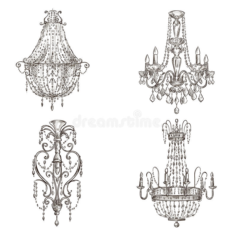 Set of chandelier drawings. Set of four chandelier drawings sketch style royalty free illustration