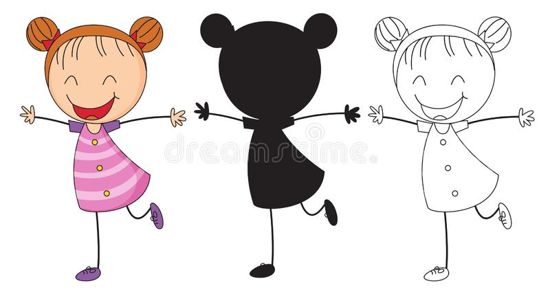 Set chappy girl character royalty free illustration