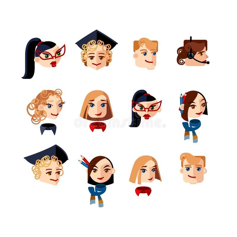 Set of character heads looking straight and to the side. Male and female character faces with straight and curly hair. Mascots for royalty free illustration