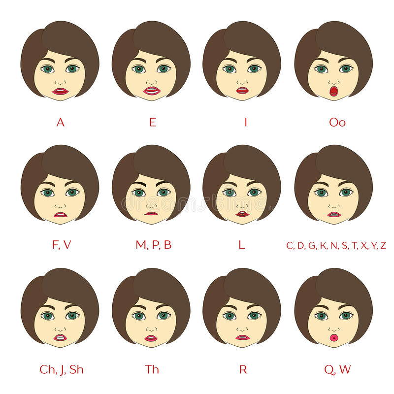 Set Of Character Lip Sync Pattern Stock Vector Illustration Of Human Cartoon 78517450