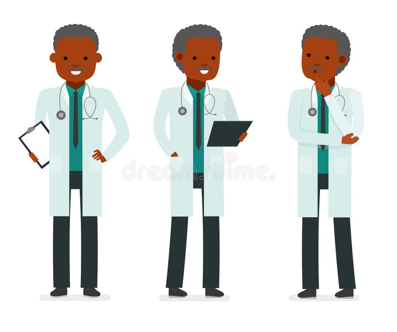 Set character male doctor in various poses. Element for medical information poster. stock illustration