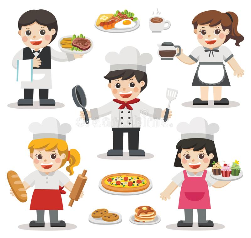 Set of characters of Chefs with Foods and Desserts. Set of characters of Chefs with Foods and Desserts . Chefs Icon. Professional Cooking Chefs Working In vector illustration